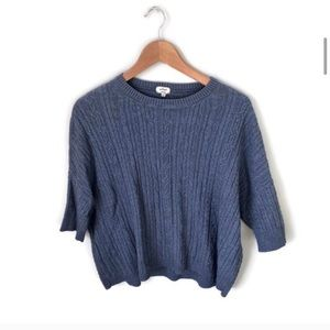 WILFRED cotton cashmere dolman sleeve blue sweater